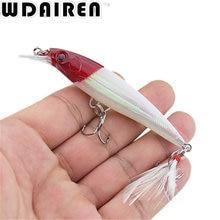 1Pcs 9cm 7.2g Hard Fishing Lure Bait Minnow Wobblers with Feather Hooks Fishing Tackle Isca Artificial Bait Crankbait Swimbait