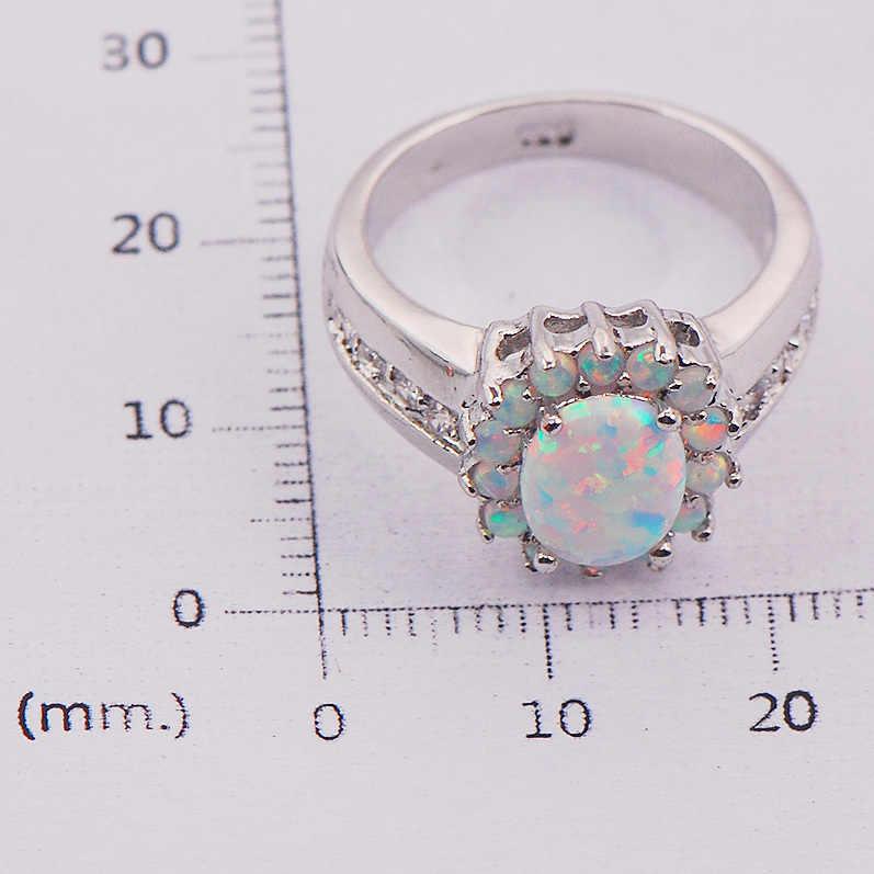 โอปอลไฟออสเตรเลียขาว925ผู้หญิงแหวนเงินเครื่องประดับขนาด6 7 8 9 10 11 F578