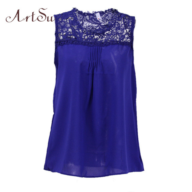ArtSu Blusas Femininas 2017 Summer Lace Chiffon Blouses Sleeveless Shirts Casual Top Plus Size Women Clothing 4XL 5XL EPBL80054