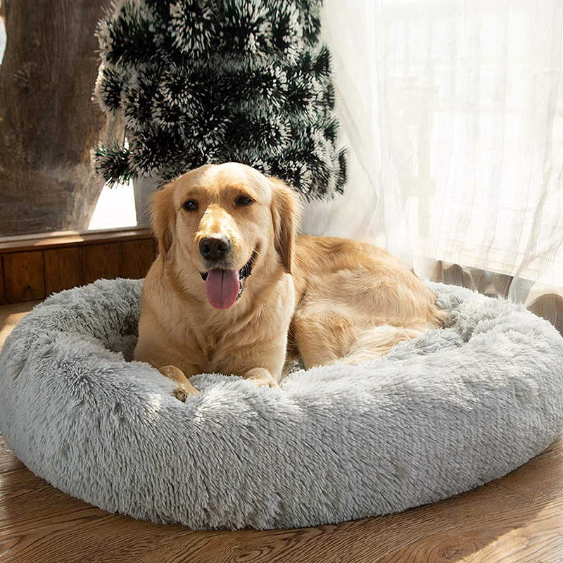 Ronde Dog Bed Voor Hond Kat Winter Warme Slaapzak Ligstoel Mat Puppy Kennel Lange Pluche Huisdier Bed