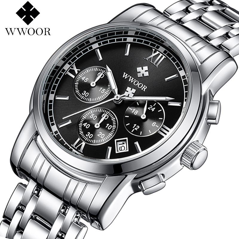 WWOOR Top Brand Luxury Men Watch Business Chronograph Waterproof Stainless Steel Sport Men Quartz Wrist Watch Men Leisure Clock