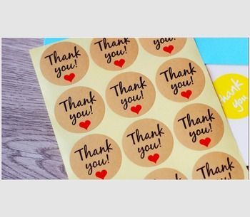 10sheets/lot Kraft love you Thank you sealing stickers decorated with self adhesive baking sealing paste image