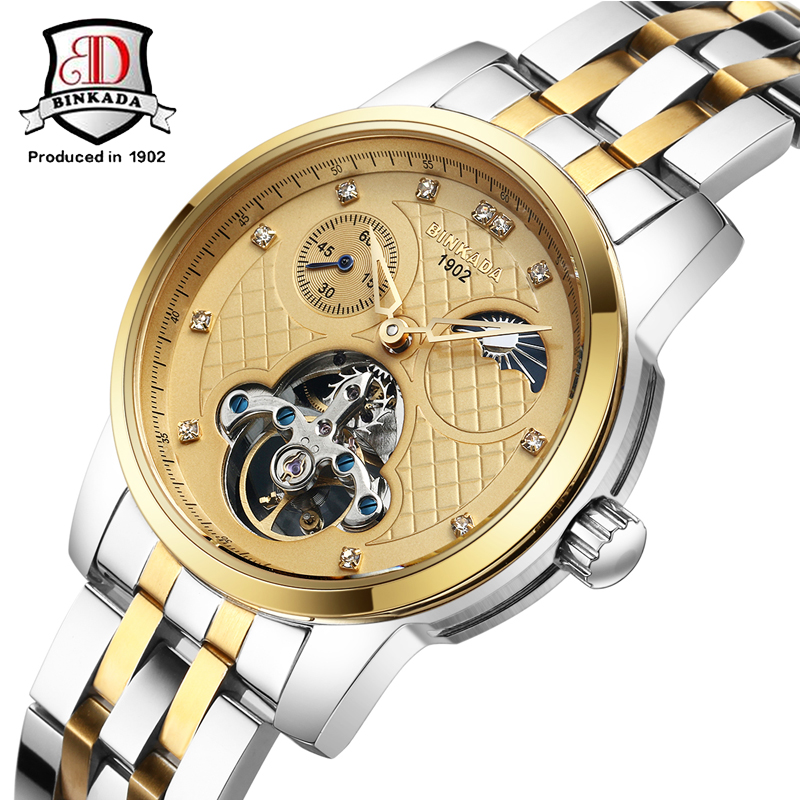 Brand BINKADA Fashion Classic Mechanical Watch Men's Business Casual Auto Self-Wind Wristwatch Tourbillon Moon Phase Waterproof deluxe ailuo men auto self wind mechanical analog pointer 5atm waterproof rhinestone business watch sapphire crystal wristwatch