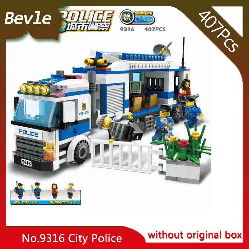 Bevle Store LEPIN 9316 407Pcs City Series Mobile police station Building Blocks Set Bricks Children For Toys Gudi Boys Gift lepin 02012 city deepwater exploration vessel 60095 building blocks policeman toys children compatible with lego gift kid sets