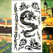 Black Dragon Totem Temporary Tattoo Body Art Flash Tattoo Sticker Waterproof Adult Products Car Styling Henna Tatoo Wall Sticker