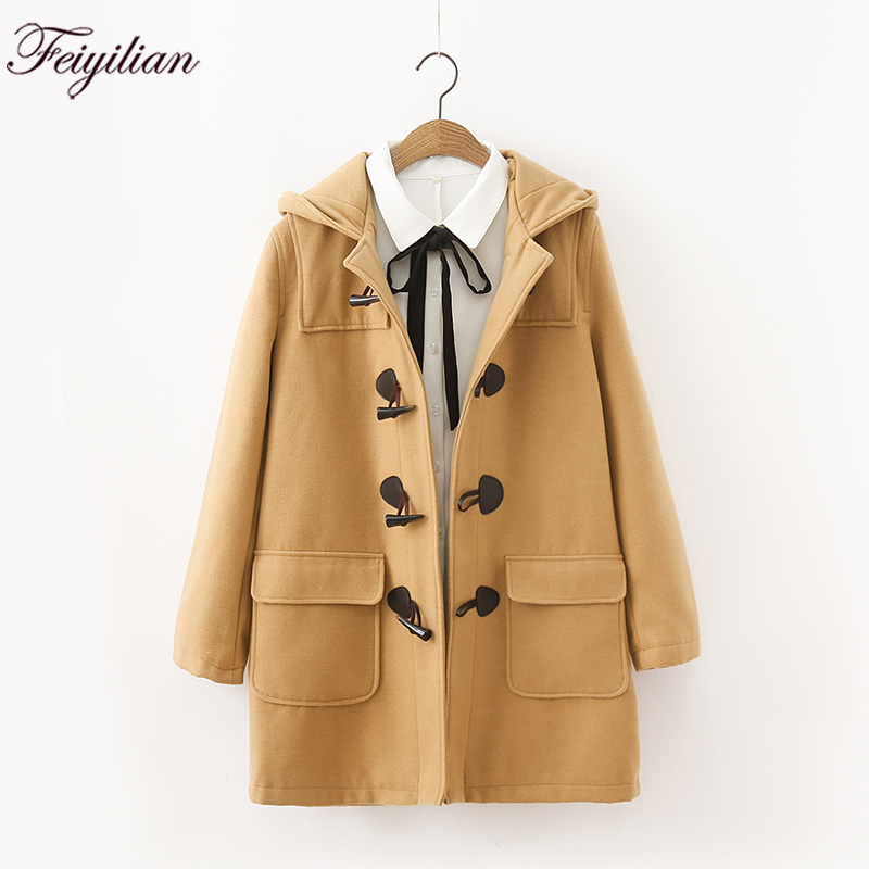 Autumn Winter New Women s Clothing Japanese College Bull Horn Button Mid long Wool Coat Female