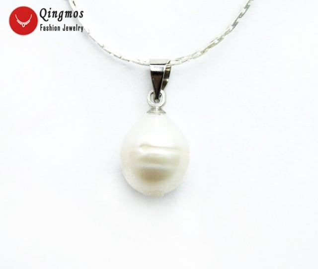 "Qingmos 10-11mm White Rice Natural Pearl Pendant & Necklace with Silver Plated 17"" Chain Trendy Chokers Necklace for Women-n6346"