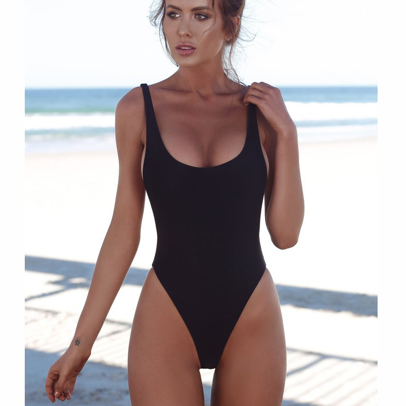 2018 Women One Piece Swimsuit Solid Female Sexy Black Backless Brazilian Swimwear Women Fused Monokini Beachwear XL