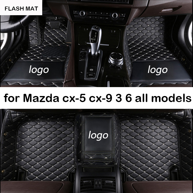 Custom LOGO car floor mats for mazda all models mazda cx-5 2018 cx-7 cx-9 mazda 3 6 2003-2006-2016 atenza auto accessories топливоснабжение no logo 7 10an auto