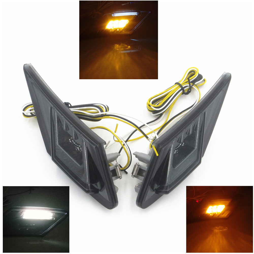For 13 15 Scion FRS GT 86 Subaru BRZ Smoke Front Bumper Side Marker Lights Lamps