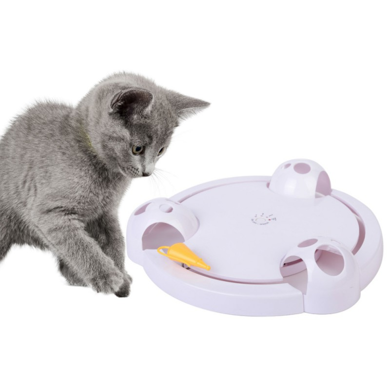 Interactive Cat Toy Automatic Rotating Teaser Play Plate Mice Catch Electric Mouse Hunt Toys for Cats