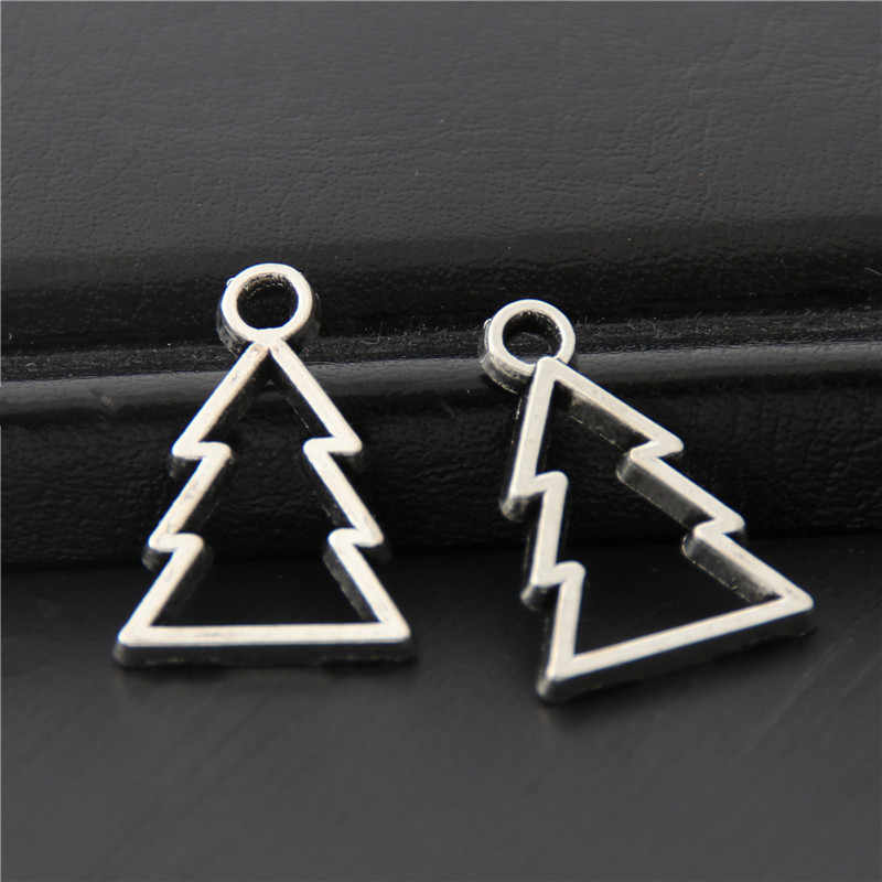 50pcs Antique Sliver Hollow Lovely Christmas Tree Charms Nature Pendant Findings Jewelry Necklace Accessories 18x13mm A3071