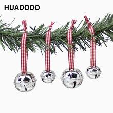 HUADODO, 6 шт., рождественские колокольчики, подвески на елку, украшения, подарок на Рождество, новогодние, вечерние, детские игрушки