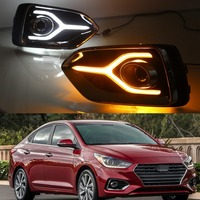 1 Set Yellow Turn Signal Function 12V Car DRL LED Daytime Running Light Fog Lamp for Hyundai Accent 2018 2019