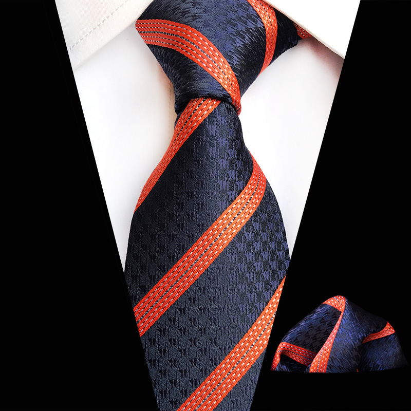 Navy Orange Striped Floral Plaid Tie Hanky Sets Men's 100% Silk Ties For Men Formal Wedding Party Gentlemen Tie Sets