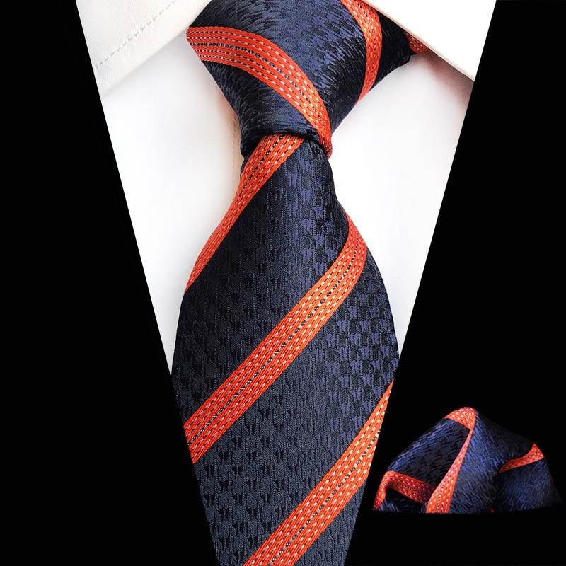 Navy Orange Striped Floral Plaid Tie Hanky Sets Men's 100% Silk Ties For Men Formal Wedding Party Gentlemen Tie Sets