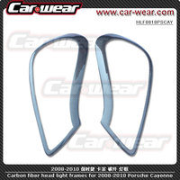 Carbon Fiber Headlight Eyebrow Eyelids For Porsche Cayenne 2008 To 2009 1011119