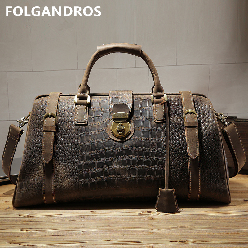 Mens Travel Duffle Bag Genuine Leather Crocodile Pattern Large Capacity Lock Male Travel Business Bag Crazy Horse Leather TotesMens Travel Duffle Bag Genuine Leather Crocodile Pattern Large Capacity Lock Male Travel Business Bag Crazy Horse Leather Totes