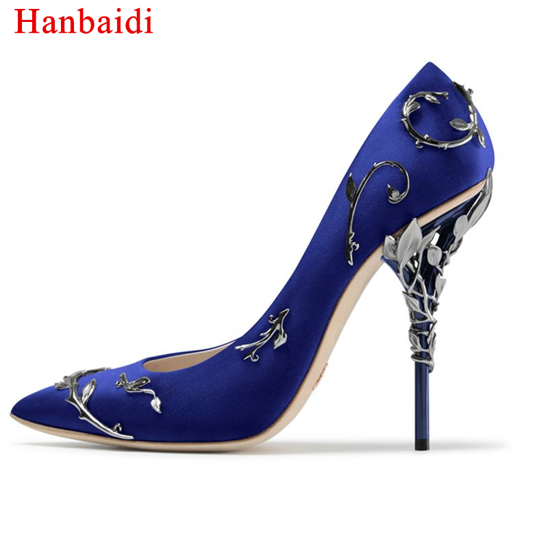 Hanbaidi Women Spring Autumn Classical Pumps Sexy Strange High Heel Celebraty Shoes Pointed Toe Slip On Party Wedding Shoes womens shoes high heel woman pumps spring autumn basic silk slip on pointed toe thin heels sexy wedding shoes ljx04 q