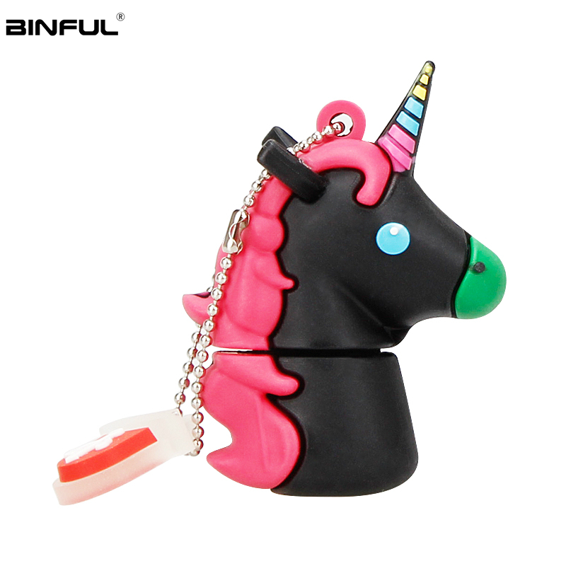 Silicone Cartoon Unicorn Usb Flash Drive 128GB 64GB 32GB Pen Drive Usb 2.0 16GB 8GB 4GB Flash Memory Portable Thumbdrives U Disk-in USB Flash Drives from Computer & Office