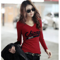 T shirt Women 2014 autumn all-match casual long-sleeve Basic Letter Print Slim Long-sleeve Cotton T-shirt basic shirt