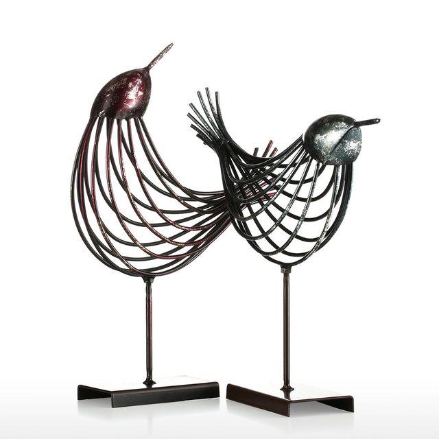 Tooarts Iron Wire Bird Metal Sculpture Home Decoration Creative