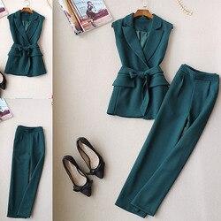 Femmes automne nouveau tempérament des femmes gilet sans manches mode costume gilet femmes pantalons larges neuf pantalons deux pièces printemps costume