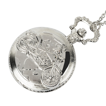 Fashion Vintage Cool Motorcycle Quartz Pocket Watch Silver Necklace Pendant Chain Mens Steampunk Gift White Face vintage quartz pocket watch steampunk doctor who tardis blue telephone booth pattern necklace chain fashion birthday gifts