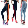 Sportlover New Women's One Stripe Leggings Patchwork Pants High Waist Leggings Fitness Pants Elastic Plus Size