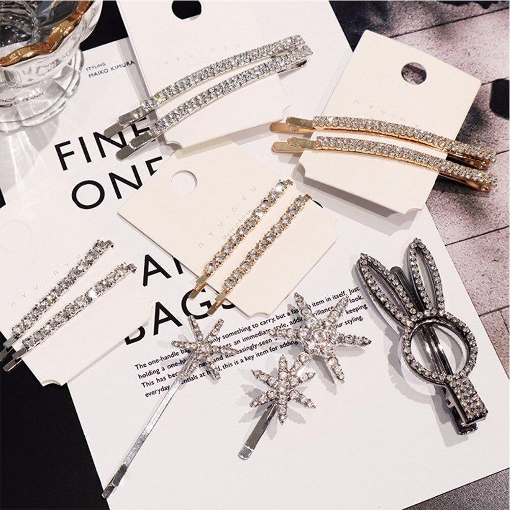 Hair Accessories Shiny Rhinestone Hair Clips For Women Girls Metal Diamond Snowflake Hairpin Elegent Crystal Hair Barrettes