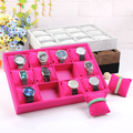 35*24CM Red 12 Grid Watch Jewelry Leather Case Display Storage Organizer Leather Box Bracelet Display Shelf