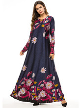 Spring Autumn Women Boho Full Sleeve Long Flower Dress Loose Maxi Floral Print Femme Blue Muslim Arab Robe Pl