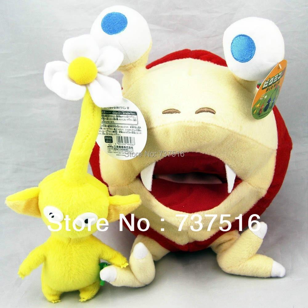 """2pcs Сладък Pikmin Игри Bulborb Chappy & Жълт цвете Плюшена играчка Doll FLOWER Set 10 """"САЩ"""