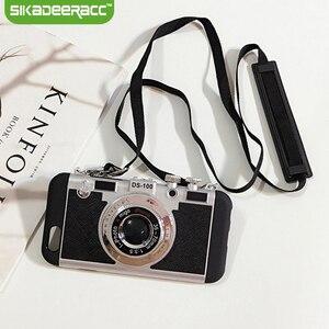 Чехлы для телефона с камерой для iPhone Xs Max XR X, противоударный ремешок, Ретро стиль, встроенная задняя крышка, чехол для iPhone 7 8 Plus 6 6s 11 Pro SE