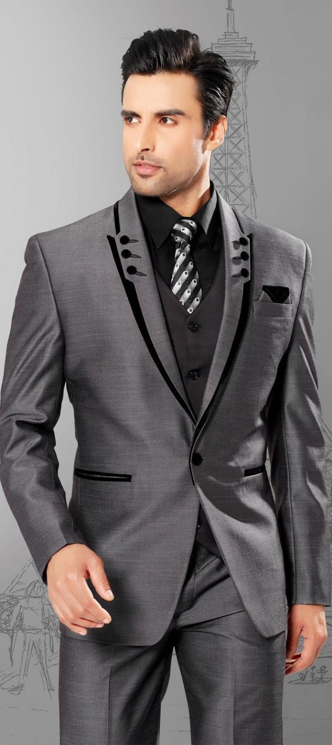 Classic Style One Button Grey Groom Tuxedos Groomsmen Mens Wedding Suits Prom Dress (Jacket+Pants+Vest+Tie) NO:260