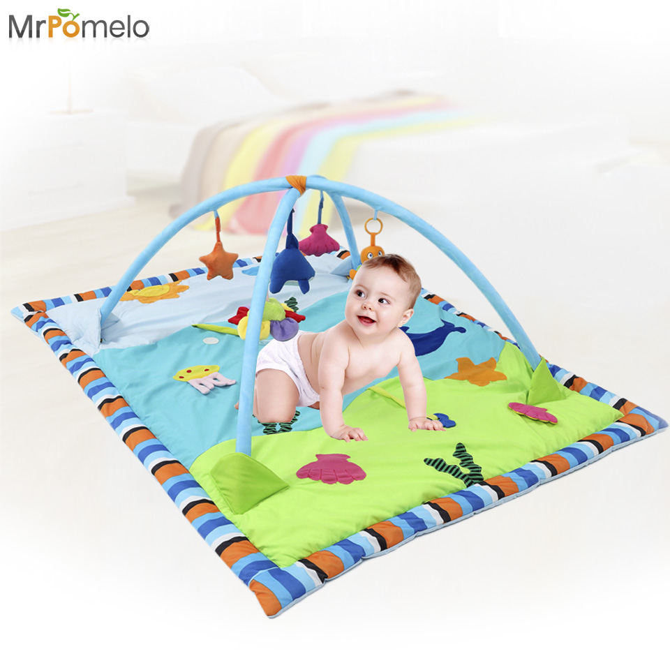 MrPomelo Baby Play Gym Crawling Mat Sided Pattern Animal Ocean Newborn Activity Playmat Carpet for Babies with Mirror & Gums  цены