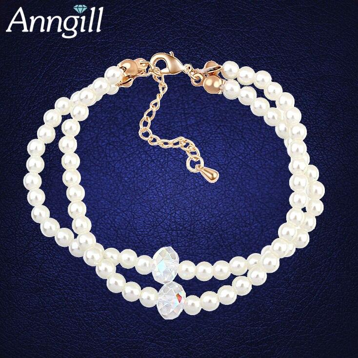 993bc5de70f2 Nueva pulsera de cuentas de perlas simuladas para mujer cristales de ...