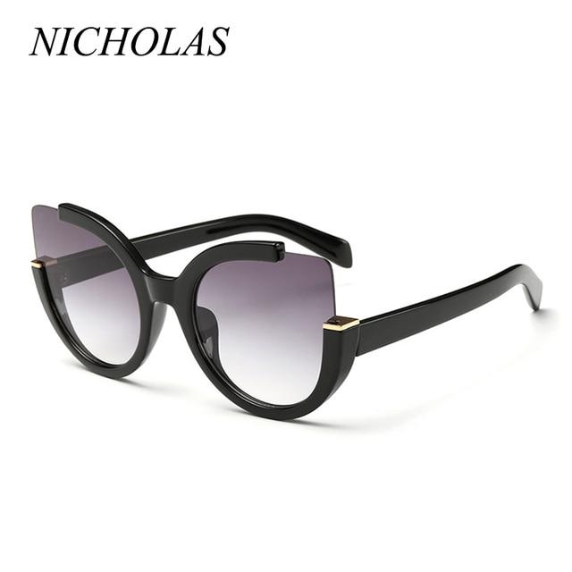 86d0fd35b750eb NICOLAS Cat Eye Semi-Rimle lunettes de Soleil Femmes Vintage Miroir lunettes  de Soleil Femmes