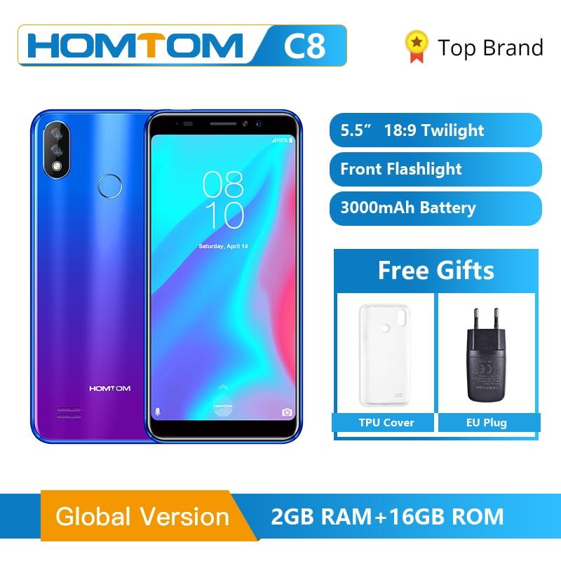 Versão global homtom c8 telefone móvel 5.5 polegada android 8.1 mt6739 quad core 2 gb + 16 gb smartphone face desbloquear impressão digital id 4g fdd
