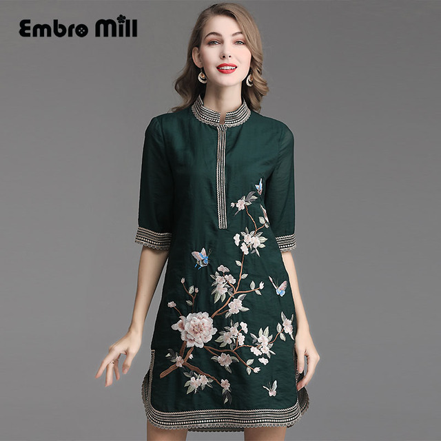High-end summer women Standing collar embroidery Plant flower Five-point sleeve sleeve Slim elegant fashion Woman dress M-4XL
