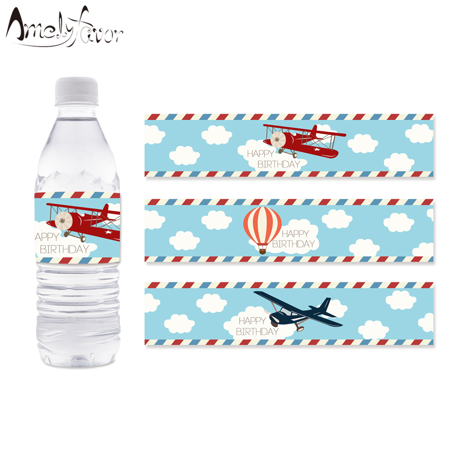 Airplane Water Bottle Labels Hot Air Balloon Water Bottle Labels Kids Birthday Party Decoration Supplies Airplane Baby Shower image