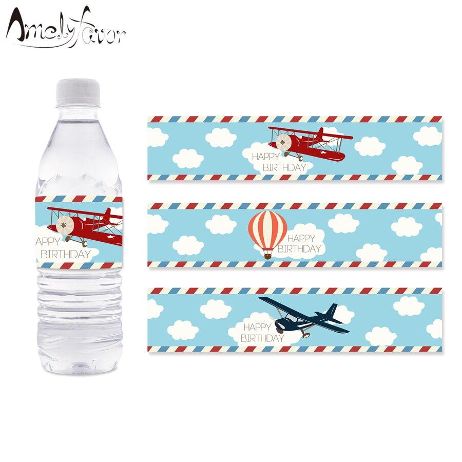 Этикетки на бутылки с водой для аэроплана, этикетки на бутылки с водой с горячим воздухом, украшения для детского дня рождения, товары для де...