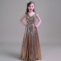 Children evening long gold sequinned performance clothing ball gowns pageant dress for little girls toddler halloween costumes
