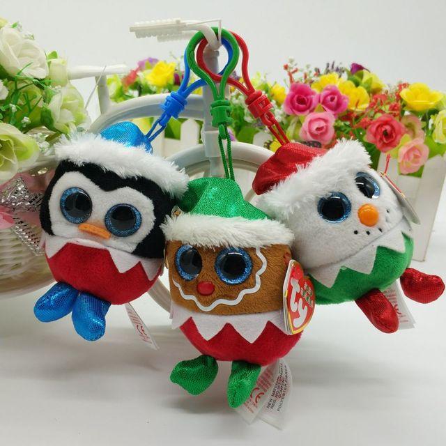ty 1pc 9cm pendant clip fruitcake eggnog sugarplum christmas plush toy - Christmas Plush Toys