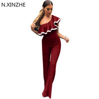 2017 Elegant Long Rompers Jumpsuits Womens Sexy Slash Neck One Shoulder Ruffle Summer Overalls Bodycon Party