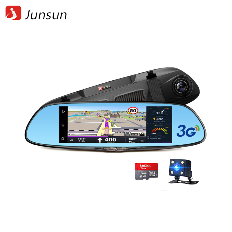 Dash camera Junsun A730.16GB dash camera junsun a730 32gb 7 inch 3g car gps navigation android wifi dvr camera video recorder rearview mirror vehicle gps