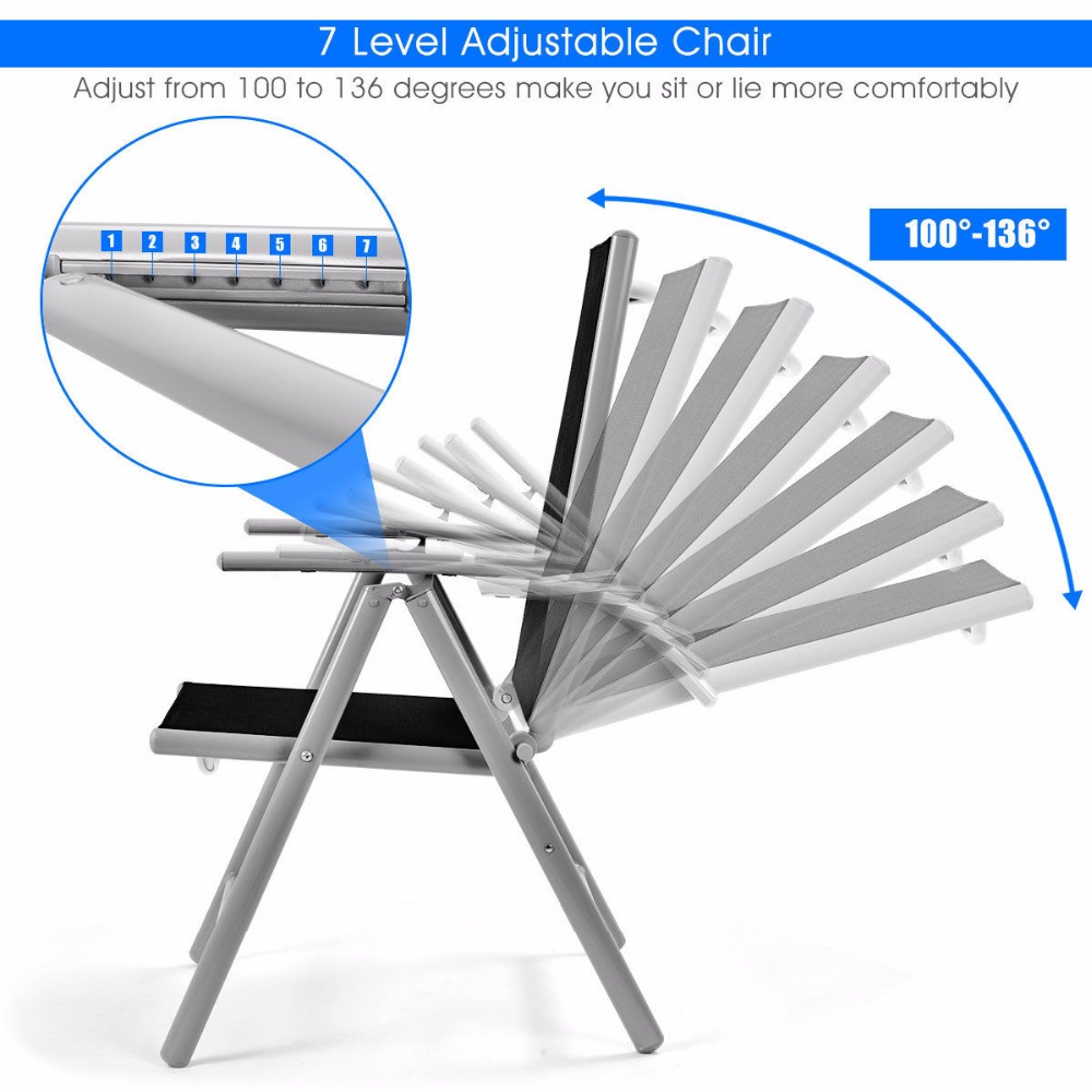 Fishing Chair Setup Baby Lawn Goplus Set Of 2 Patio Folding Beach Adjustable Reclining Indoor Outdoor Garden Aluminum Portable Chairs Hw52027 In From Furniture