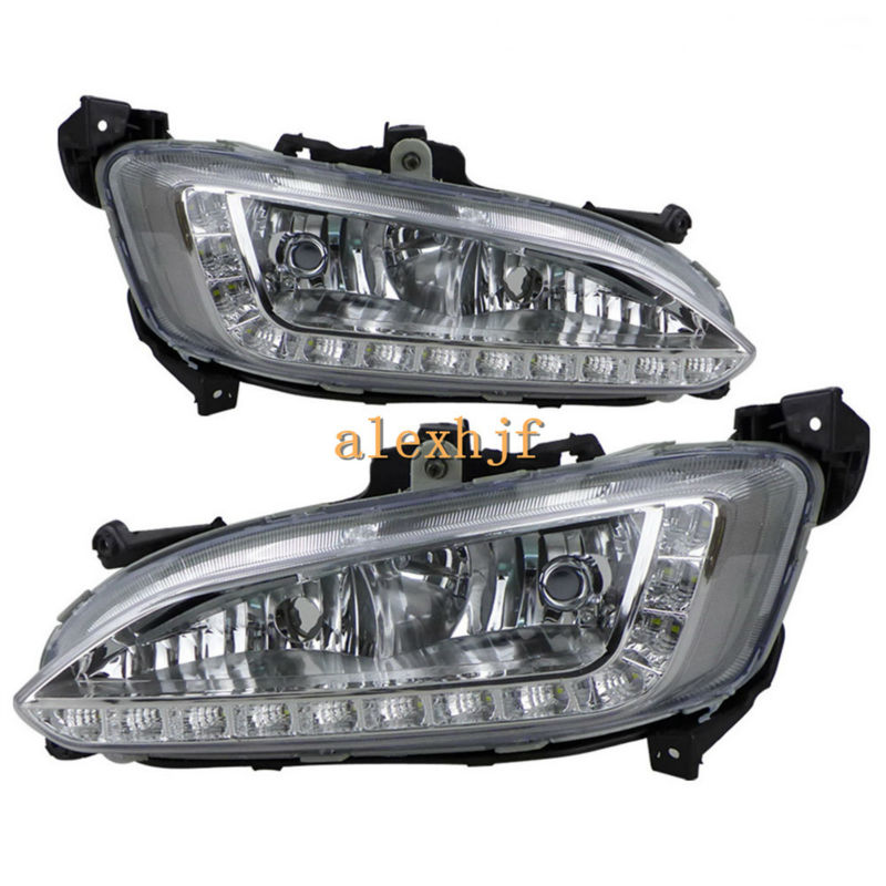July King LED Daytime Running Lights DRL, LED Fog Lamp Assembly Case for Hyundai 2013 All new Santa Fe (AU) / 2012 IX45 ,1:1 12v auto car daytime running lights led daylight drl fog lamp for hyundai grand santa fe ix45 2013 free shipping