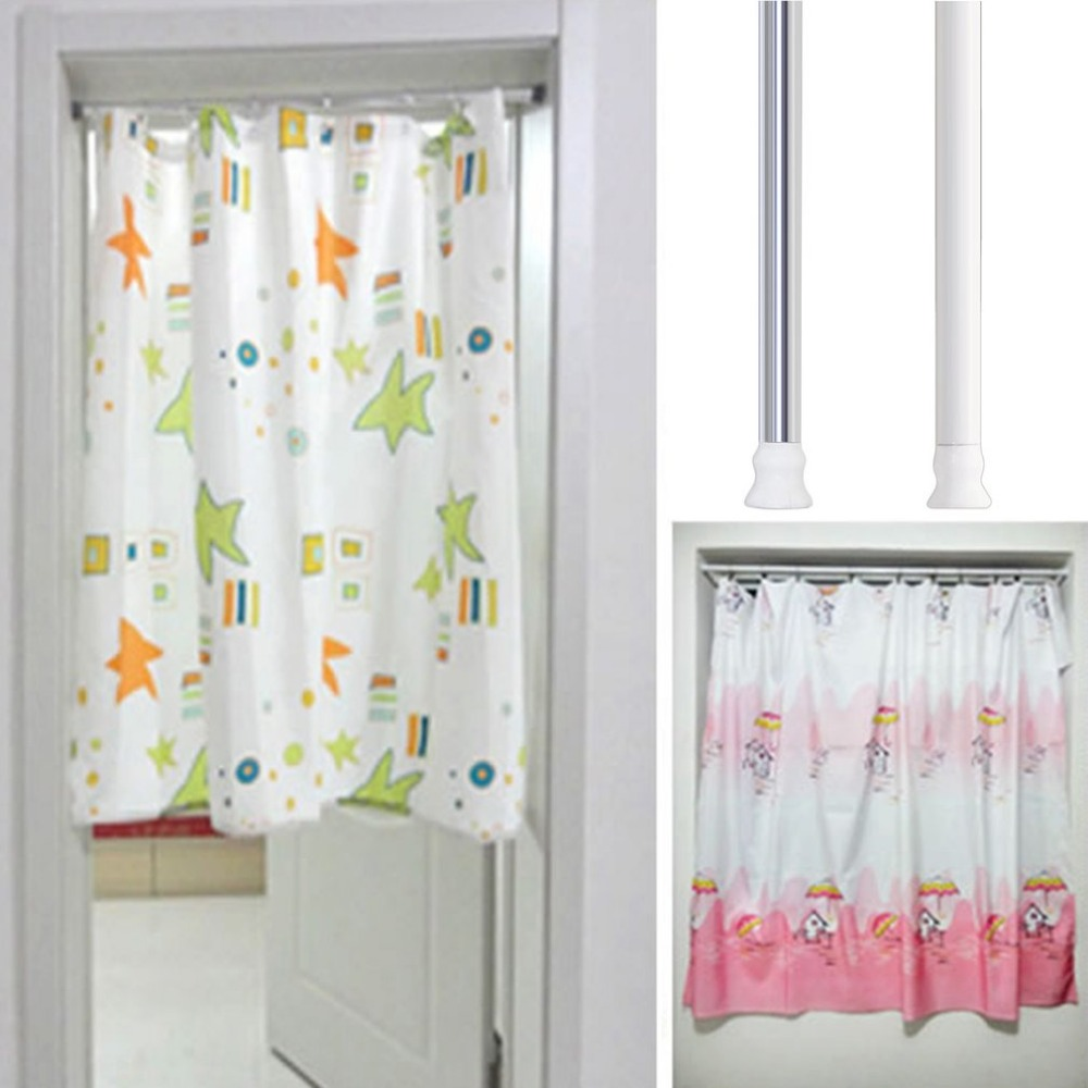 Aluminium Alloy Retractable Shower Curtain Rod Straight Bathroom Jackstay Window Clothes Drying In Poles From Home Garden