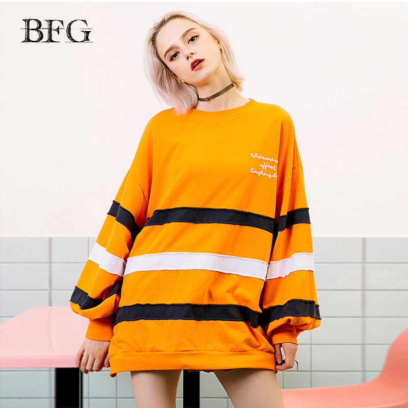 2019 Winter Striped Hoodies Sweatshirt Loose O-Neck Letter Puff Sleeve Long Sweatshirts Top Pullovers Girl Streetwear Clothes